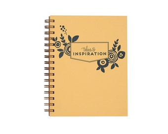 Floral Inspiration Journal - Notebook | Lined Pages | Spiral Bound | Letterpress | Hard Cover