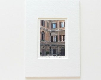 Miniature Art Matted 5x7, Italy Art, Italian Print, Courtyard Art, Urban Decay Print,Italy Photography,Stocking Stuffer,Siena Italy Wall Art