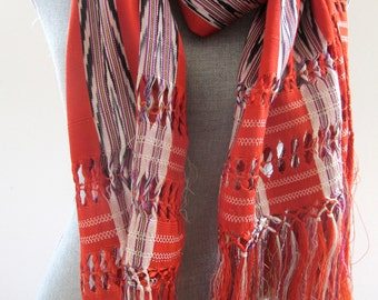 Gorgeous Hand Woven Vintage Shawl, Scarf, Wrap, Ikat Weaving, Fringe, Orange and Black, Ethnic, Table Runner, Home Decor Mexican