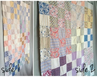 Quilt Patchwork Blanket Cottage Shabby Chic Handmade Vintage Small Baby Blanket Distressed Antique Pastel Pink Blue White Calico Floral