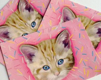 5 x Kitten Cat Donut Sprinkles Postcards kawaii pink kitsch