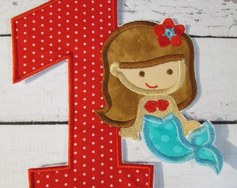 Little Mermaid Birthday - Iron On or Sew On Embroidered Applique  5-7 Business Day Shipping