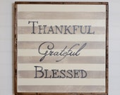 "Hand Painted Thankful Grateful Blessed Wood Wall Art - 25""x25"" - Custom - Personalized - Distressed - Home Decor - Annie Sloan Chalk Paint"