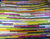 Queen Batik Strip Quilt - Throw Quilt  - Picnic Blanket
