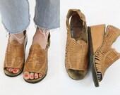 70s Leather Wedges 9.5 / 1970s Vintage Peeptoe Sandals / The Janis Heels