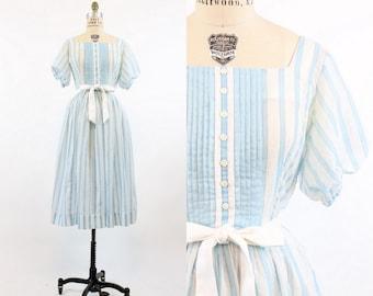 50s Jonathan Logan Dress Small Medium / 1950s Vintage Blue Stripe Sheer Dress / Candy Striper Dress