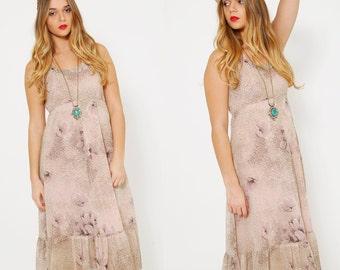 Vintage 70s Dusty Pink SUNDRESS Sleeveless FLORAL Dress Summer PRAIRIE Dress Hippie Dress
