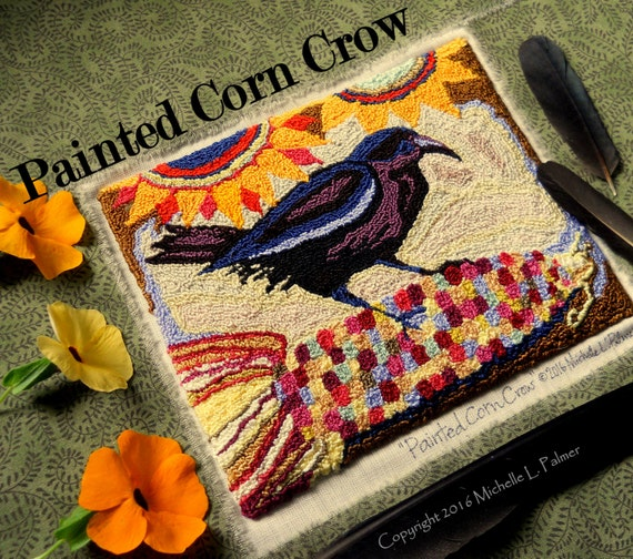 Painted Corn Harvest Sunflower Black Bird Crow Punch Needle