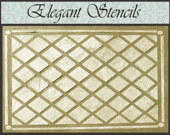 Raised Plaster Stencil, Diamond Panel Wall Stencil, Painting Stencil, Wall Decor