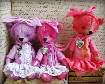 "OOAK Collectible Miniature Artist Mohair Bear - ""Bunny"" - 5-6"" -  Lavender/Lilac German Mohair"