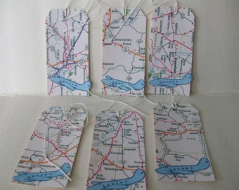 Map Tags, Handmade Travel Tags, Airplane with Map Tags, Handstamped  Airplane Tags