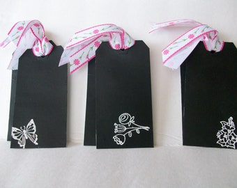 Handmade Chalkboard Tags, Chalkboard Tags, White Embossed Nature Tags, Spring Tags, Handmade Tags