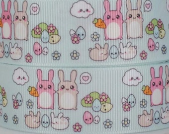 Cute hamster bunny eggs cloud ribbon - 1 yard