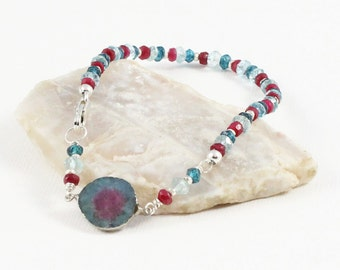 Watermelon Tourmaline, Topaz, Aquamarine, and Ruby Gemstone . Sterling Silver Layering Bracelet . Aqua Blue, Berry Pink, Light Blue . B16115