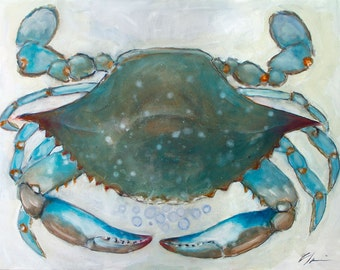 Big, Large Blue Crab, Coastal, Beach House, Seafood Original Signed Fine Art Print