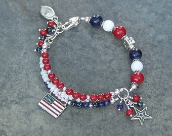 American Flag / Fourth of July / Independence Day Charm Bracelet
