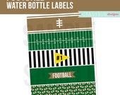 Football Water Bottle Labels, Printable Drink Wrappers, Football Party, Football Birthday Party, Football Printable, Instant Download