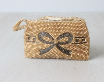 Pearl Beaded Evening Formal Handbag / Beaded Clutch / Evening Purse / Pearl
