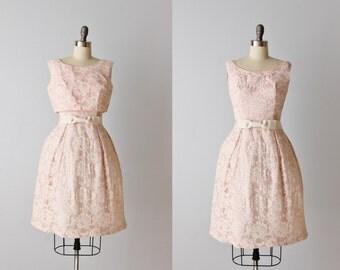 Vintage 1960s Pink Lace Bubble  Dress / Bridesmaid Dress / Formal Dress / Blush Pink