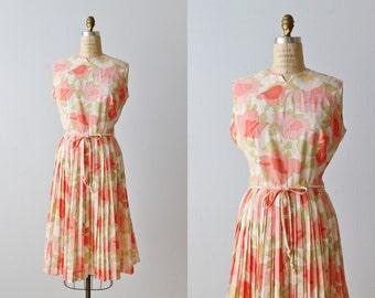 Vintage 1960s Sleeveless Dress / 60s Dress / Floral Print / Gathered Skirt
