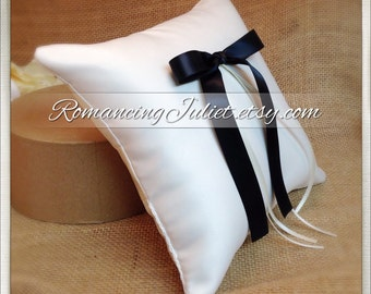 Simple Elegance Ring Bearer Pillow...You Choose Your Colors..Buy One Get One Half Off..shown in ivory/black