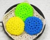 Pot Scrubber, 3pk, durable, scour pads, nylon net, home, kitchen, bath, eco-smart, 20 colors. Please specify colors from list.