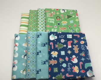 SUMMER SALE - Fat Quarter Bundle (8) - Green and Blue - Cozy Christmas - Riley Blake Designs - Lori Holt