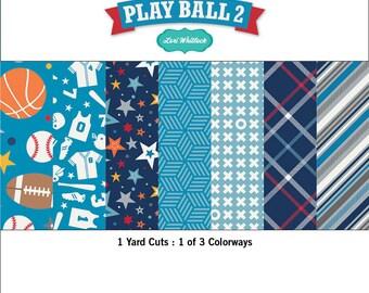FALL SALE - Full Yard Bundle in Blue (7) - Play Ball 2 - Riley Blake Designs - 7 yards