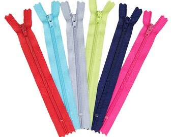 SUMMER SALE - White Zippers (pack of 10) - 14 inch - Riley Blake Designs