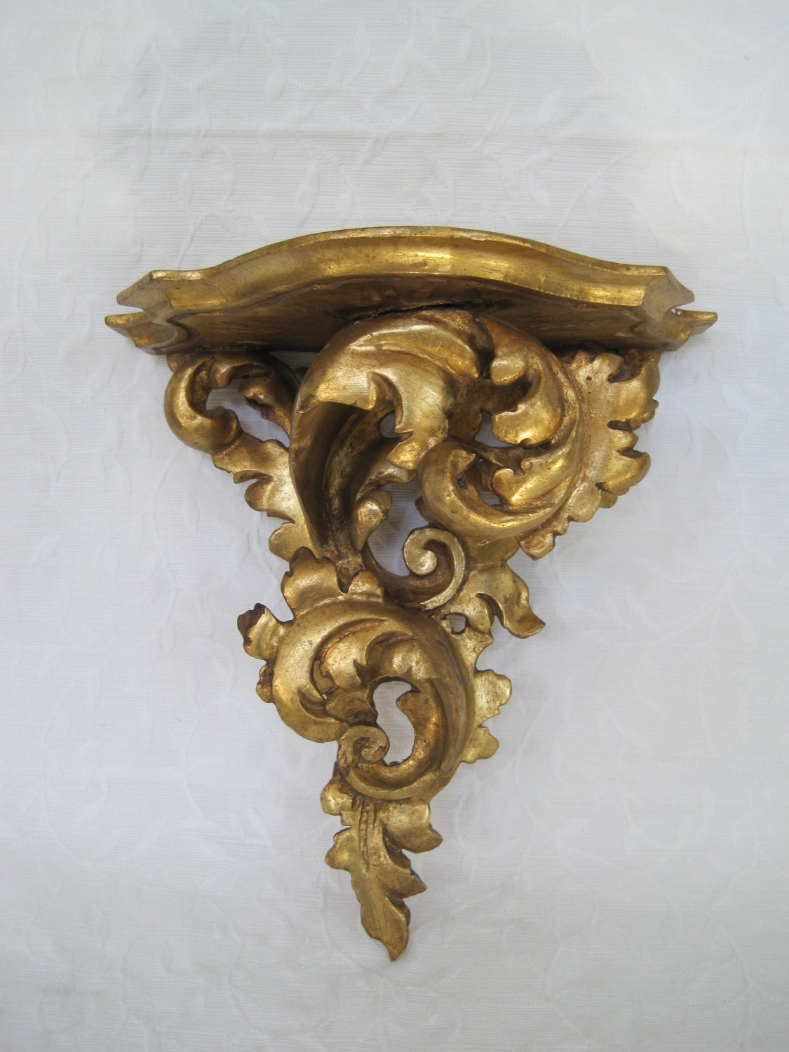 Large Wall Sconce Shelf Gilded Wood Made in Italy Rococo