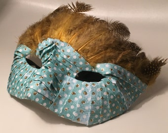 Unique Handmade Masquerade Mask - Knight in Turquoise