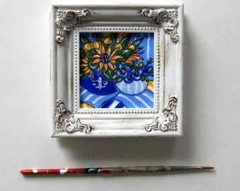 Sunflowers and Pansies, Still life, Acrylic painting on canvas, Shabby white frame, mini painting, French Country Decor, gift idea