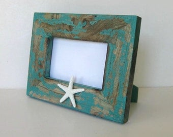 """Distressed Wood Starfish Photo Frame, 7 1/2"""" x 9 1/2"""", Home and living, Wedding, turquoise, Beach Cottage decor, gift idea"""