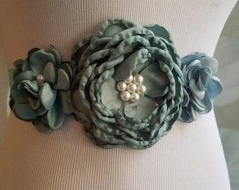30% Off Sale, Flower Wedding Sash, Flower Belt, Wedding Sash, Wedding Accessory, Flowergirl belt, Flower Belt, sage flower belt, green