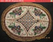 Winter SALE - Antique Beaded Boudoir Doily Victorian Applique