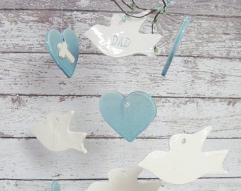 Doves and Hearts Memorial  Wind Chime Personalized