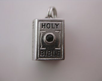 Vintage Sterling Silver Holy Bible Stanhope Charm
