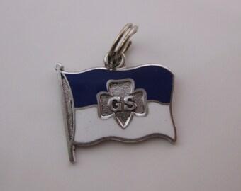 Vintage Sterling Silver Enamel Girl Scout Flag Charm
