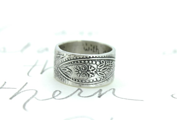 wide paisley wedding band . 11mm wide recycled silver wedding band . bohemian paisley ring . engraved secret message ring