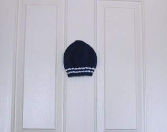 Hand Knitted - Baby Hat in Dark Blue with White Stripes
