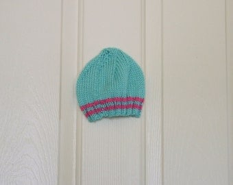 Hand Knitted - Baby Hat in Robin's Egg Blue with Pink Stripes