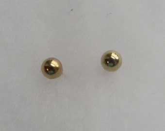 4mm round polished 14K gold ball stud earrings, free US first class shipping on vintage items