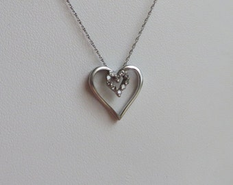 Diamond Heart Necklace, 10 Natural Diamonds in solid 10K W Gold, 18 inches long, free US first class shipping