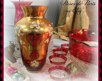 OMG!  Gorgeous vintage Czech Cranberry glass vase Gilt and ornate Bohemian  Incredible!