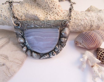 Walking By the Sea Blue Lace Agate and Fine Silver Pendant and Neckace Sea Shells and Waves Beach Jewelry OOAK by Leaping Frog Designs