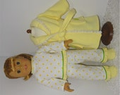 Flannel Pajamas with Lavender Fleece Robe and Slippers, Fits 18 Inch American Girl Dolls