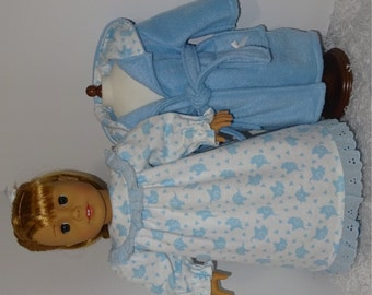 Blue Fleece Robe and Slippers with Flannel Nightgown, Fits 18 Inch American Girl Dolls