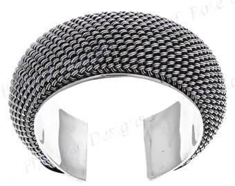 """1 1/4"""" Wide 92gr Bali Braided 925 Sterling Silver Cuff Bracelet"""