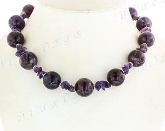 "17"" Sparkling Amethyst Gemstone Purple 925 Sterling Silver Necklace"