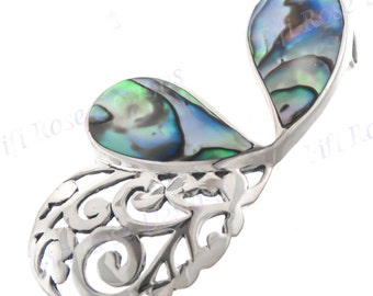 """1 3/4"""" Vintage Style Paua Abalone Shell 925 Sterling Silver Pendant"""